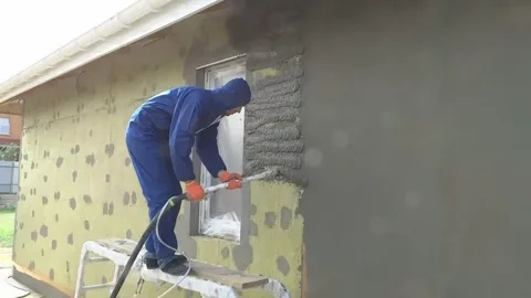 Оштукатуривание стен снаружи 1